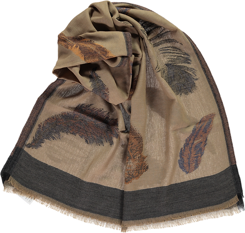 Wool, feather woven design stole