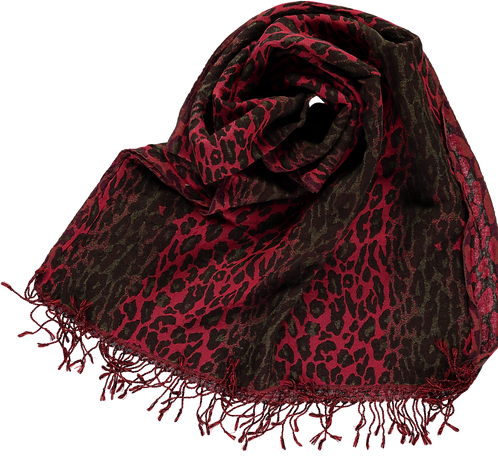 Wool, woven leopard design in red.