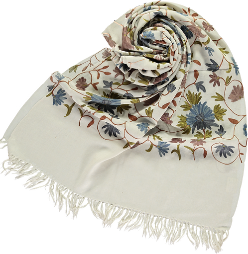 Ari embroidered wool stole from Kashmir