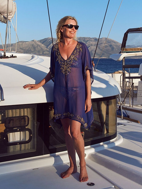 Georgette kaftan with gold bugle beads and sequins.