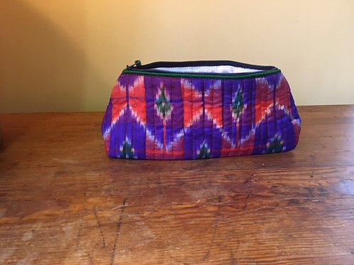 Up cycled silk saree make up bag