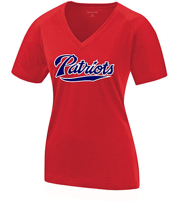 "Women's V-Neck Top ""Patriots"" (Red)"