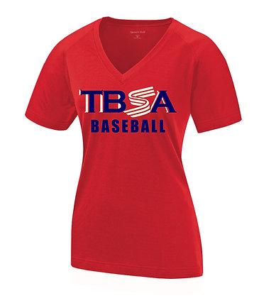 """Women's V-Neck Top """"TBSA"""" (Red)"""