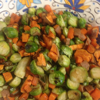 Brussel sprout sweet potato salad