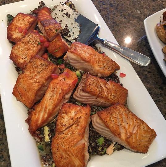 Crispy Salmon with a black quinoa with s