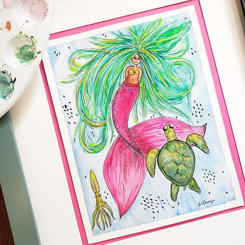 """""""Sea Hair, Don't Care!"""" Original Artwork"""
