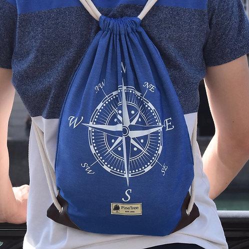 Blau mit weissem Kompass