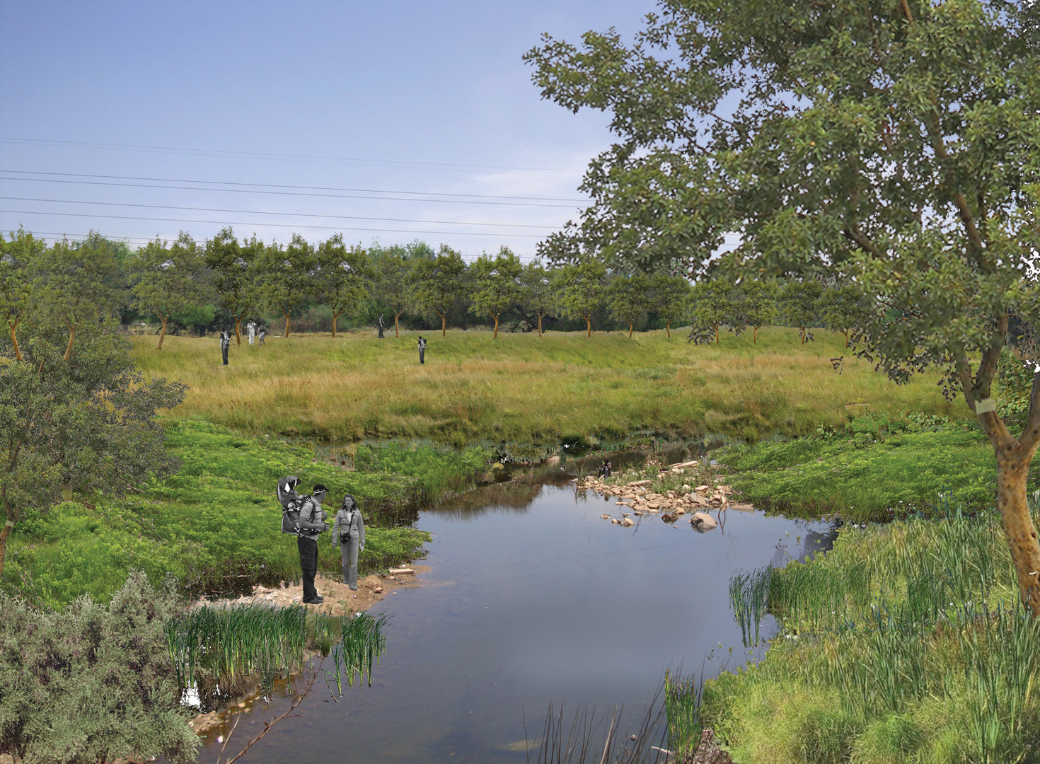 Artists impression of rehabilitated river