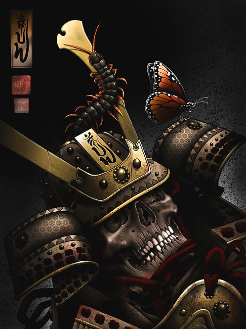 Samurai skull with centipede & butterfly