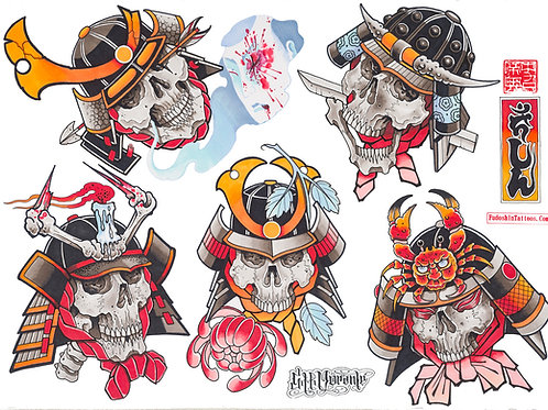 Samurai Skull Flashsheet - Individuals no.1-3