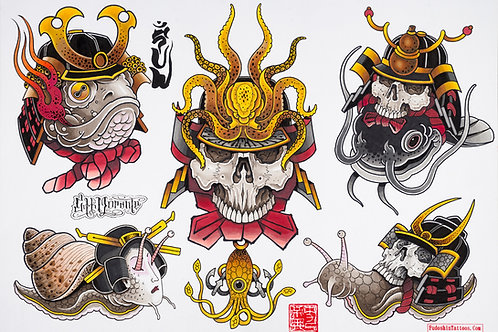 Samurai Skulls Flashsheet -Set of 3