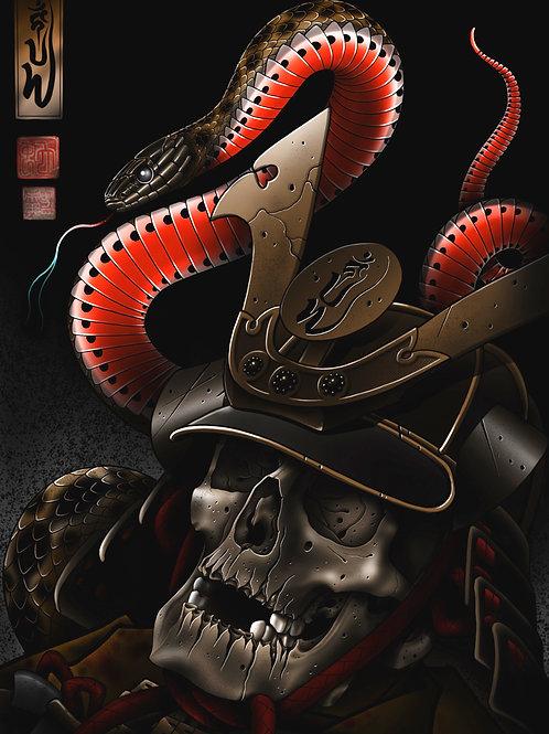 Samurai skull & snake