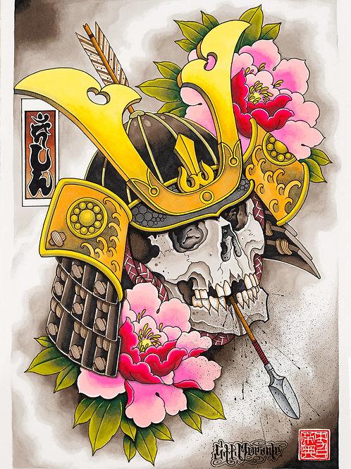 Samurai skull & Peony