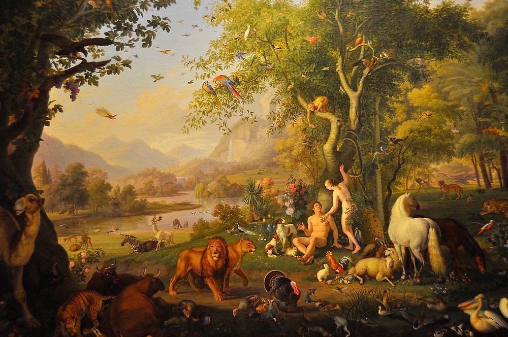 Adam and Eve in the Garden of Eden by Peter Wenzel