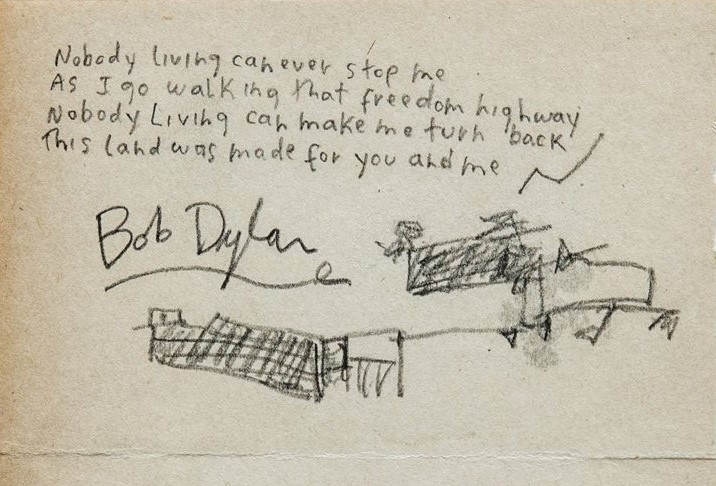 Bob Dylan handwritten lyrics