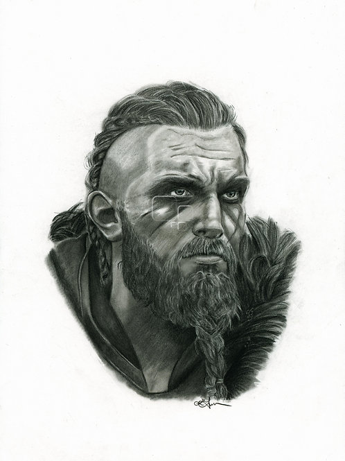 A3 Portrait Drawing  - Eivor (M) (Assassin's Creed Valhalla)