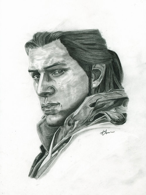 A3 Portrait Drawing  - Connor (Assassin's Creed III)
