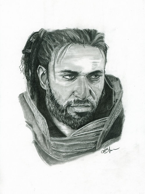 A3 Portrait Drawing  - Altair (Assassin's Creed Origins)