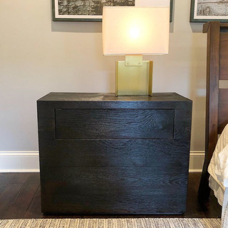 single charred nightstand
