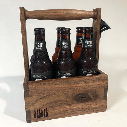 Walnut six pack beer tote