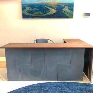 walnut and concrete desk