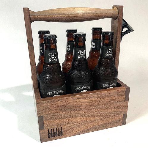 Walnut six pack beer tote