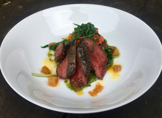 Pigeon and nduja with wild garlic and jerusalem artichoke latkes