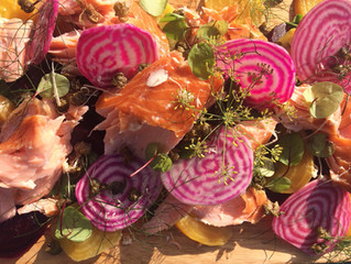 Dish of the summer - Hot smoked salmon, candy beets, fennel and horseradish