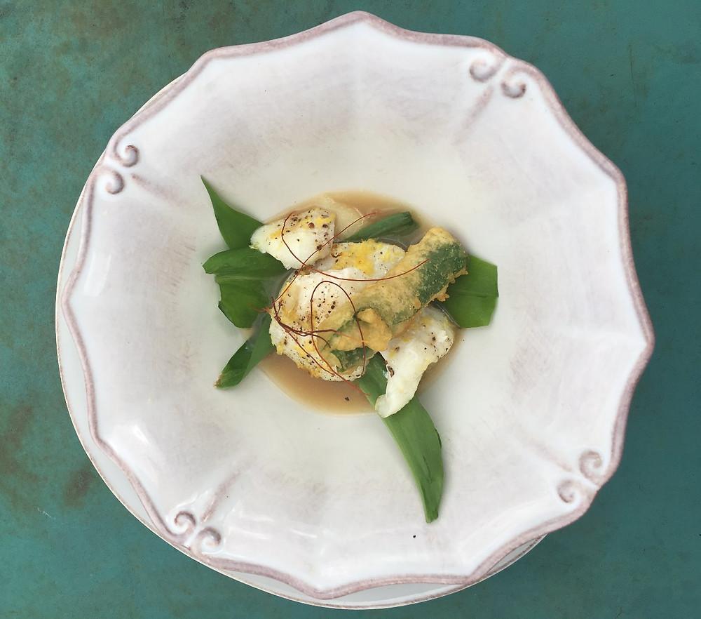Cod cheeks, wild garlic