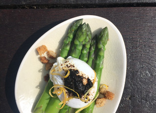 Home grown asparagus and bantam eggs
