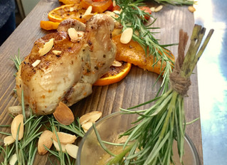 Quail, preserved orange, almonds and brandy