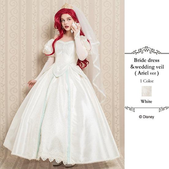 Secret Honey Little mermaid Ariel Bride dress & wedding veil