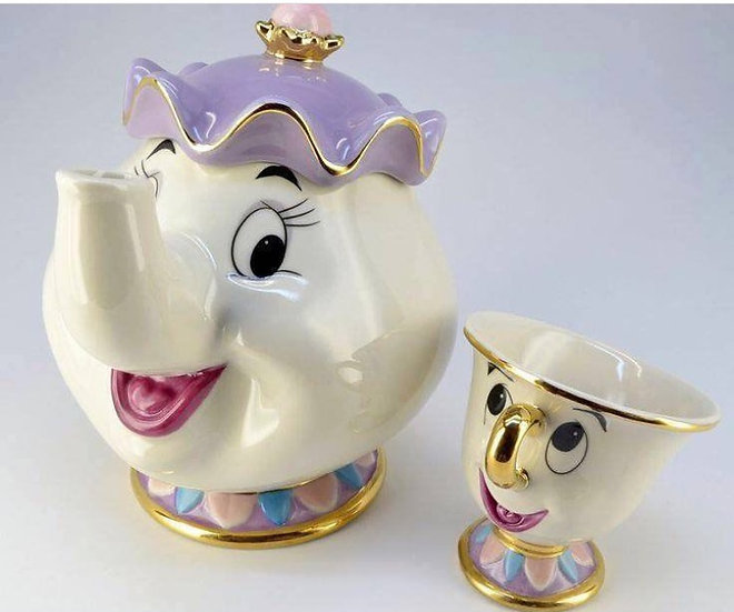 Beauty and the beast Mrs pott and chip tea set