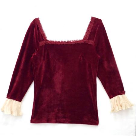 Secret Honey wine velvet inner top for belle dress