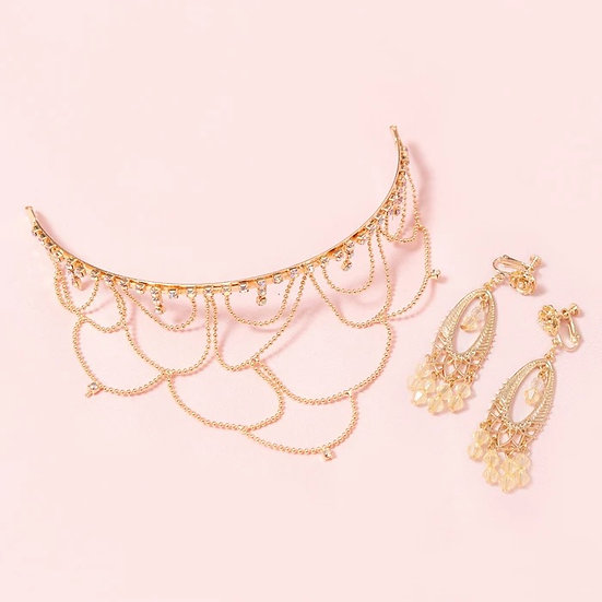 Secret Honey Beauty and the beast Belle tiara and earrings clip