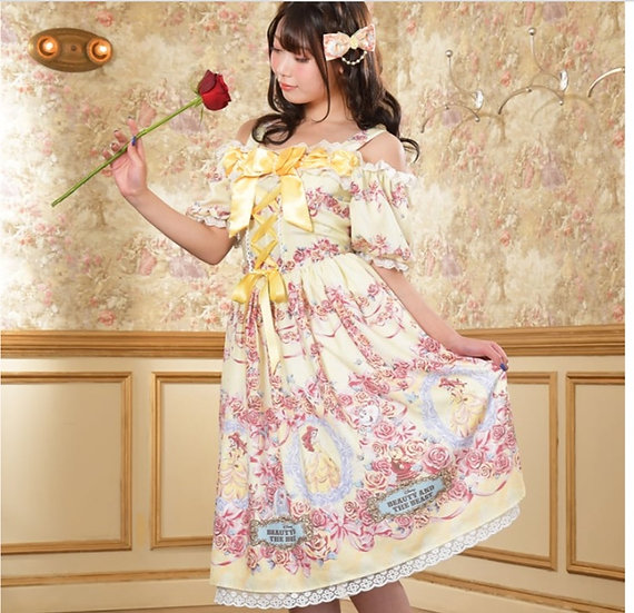 Japan Disney Baby, the stars shine bright Belle Yellow dress