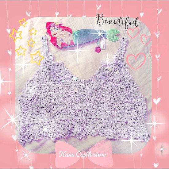 Secret Honey Ariel lavender lace top