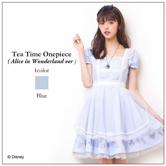 Secret Honey Alice in wonderland tea time blue one piece