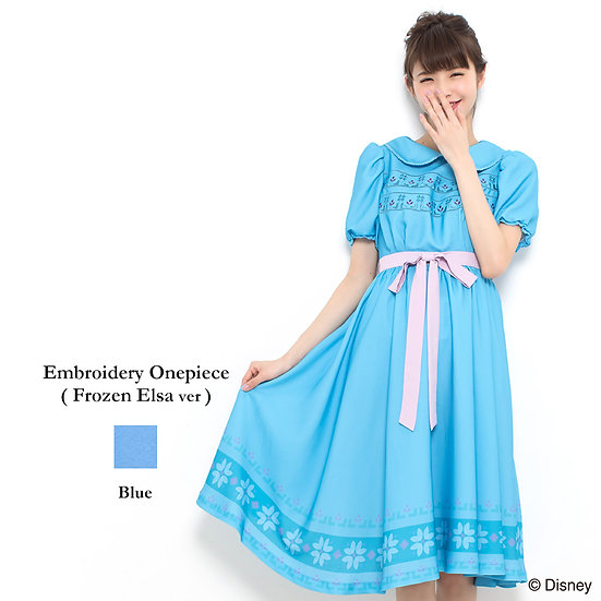Secret Honey Frozen Elsa childhood embroidery one piece dress