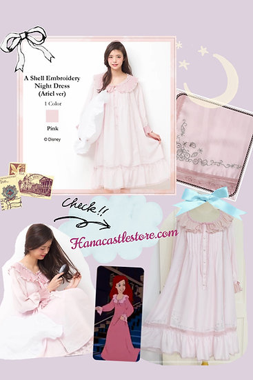 Princess Ariel A shell embroidery pink dress nightgown
