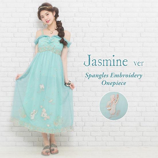 Secret Honey Disney Aladdin jasmine spangles embroidery mint jamine dress