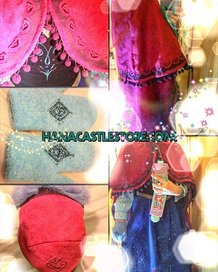 Secret Honey Frozen Anna cape glove hat set