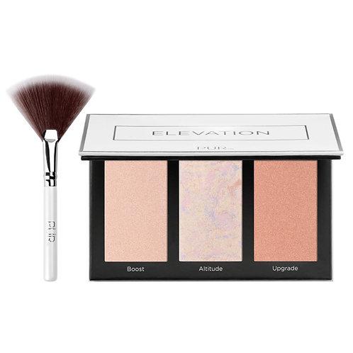Pür Cosmetics Elevation Mini Highlighter & Cheek Palette with Fan BrushPUR0