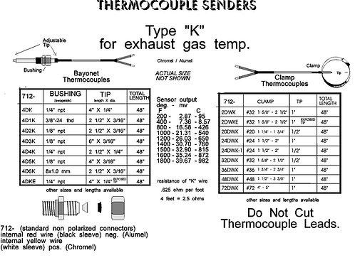 "Type ""K"" thermocouples"