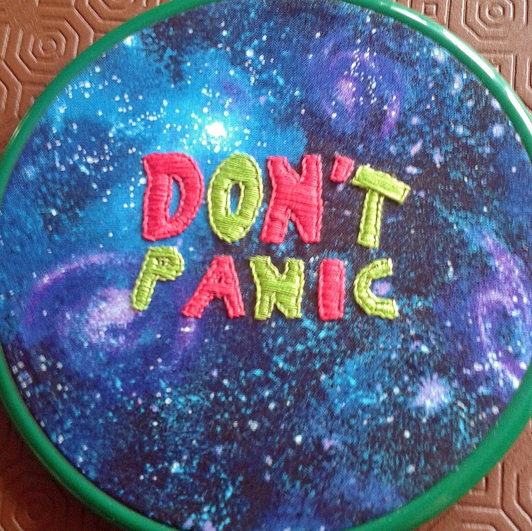 2015-07-17 Don't Panic hoop art