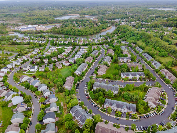 aerial-top-view-of-small-town-urban-land