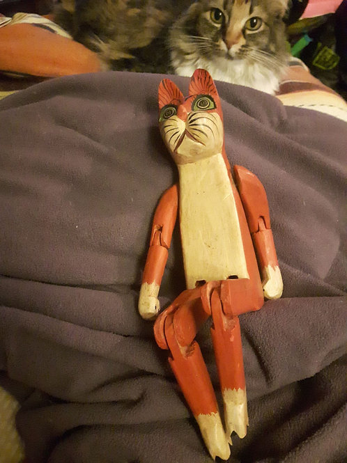 Wooden mobile cat