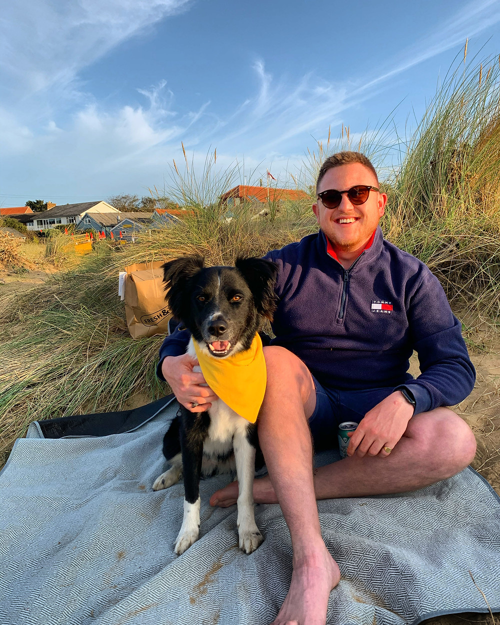 Founder of blOKes Tom Home and his dog
