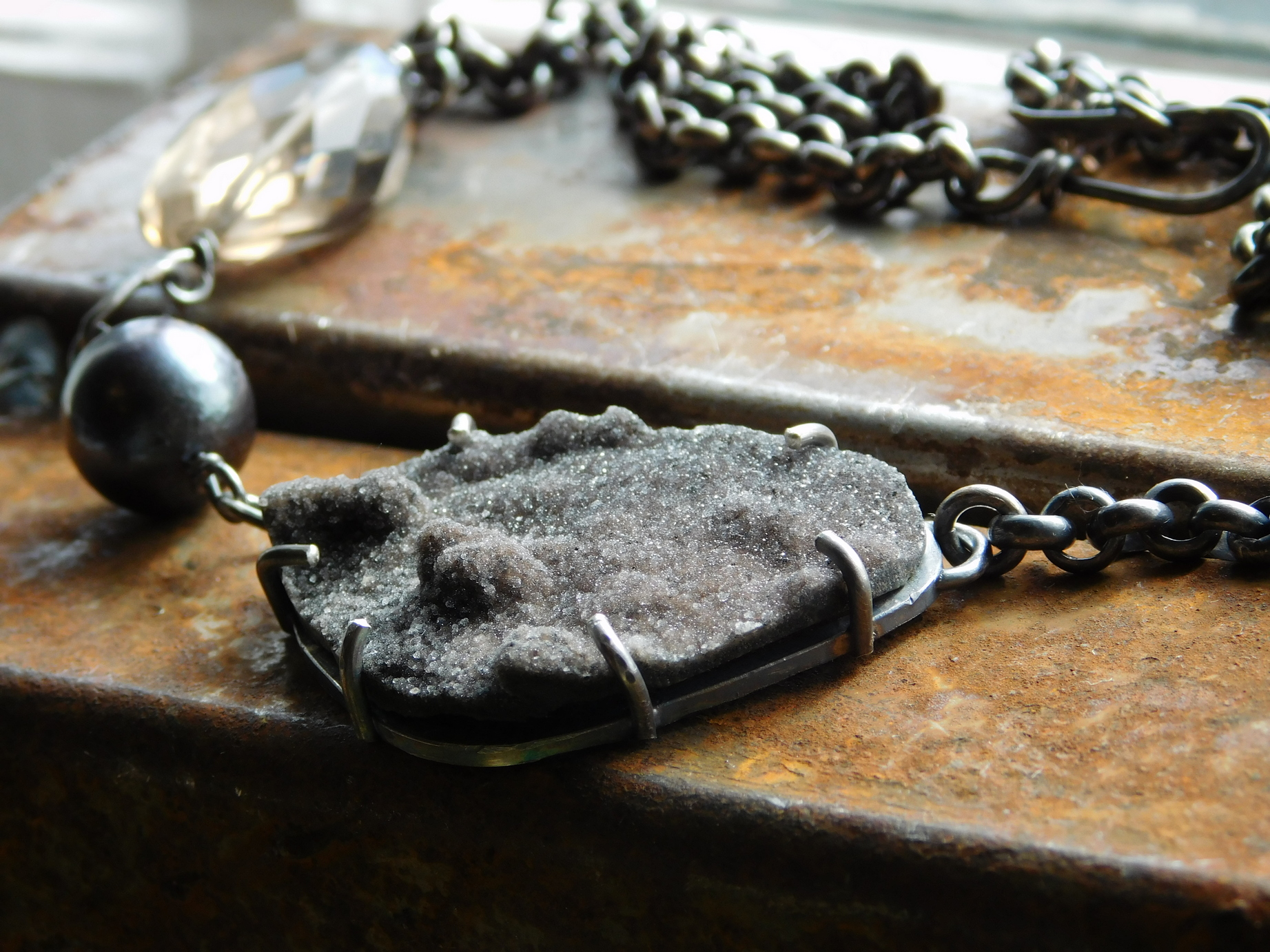 chocolate druzy necklace 1