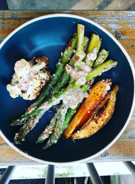 Sesame crusted roasted veggies